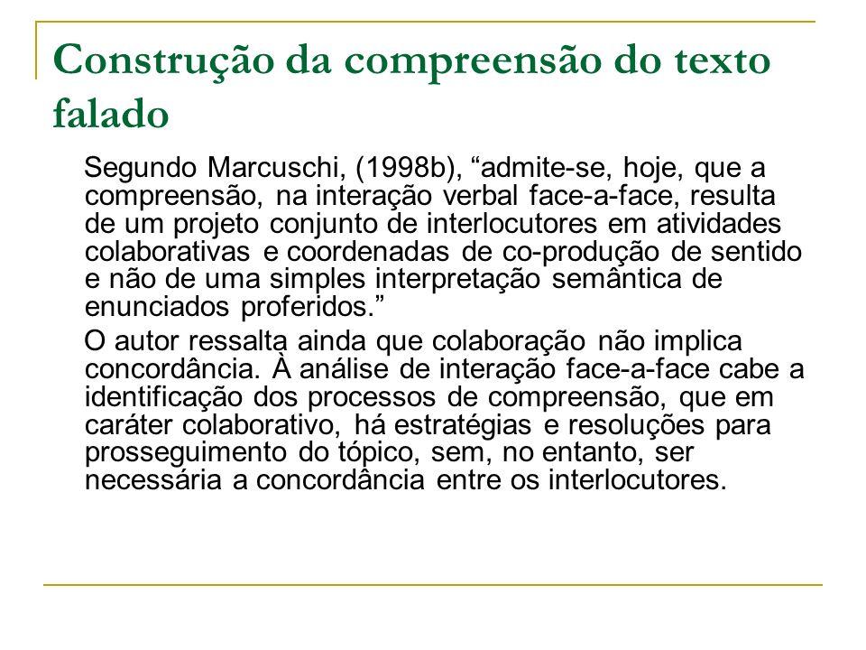 Construção da compreensão do texto falado