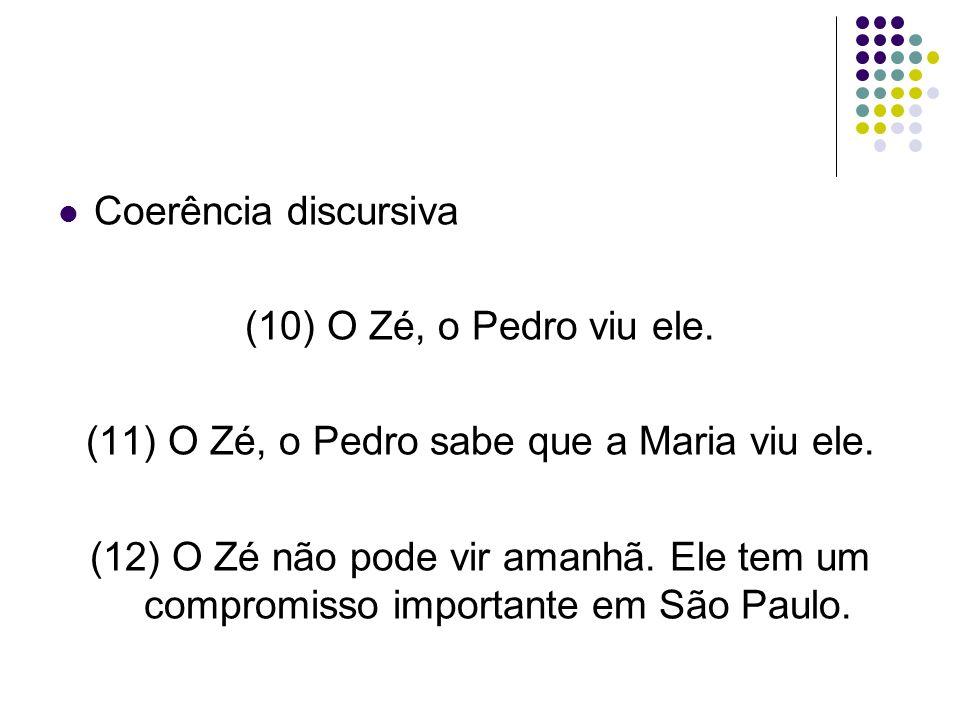 (11) O Zé, o Pedro sabe que a Maria viu ele.