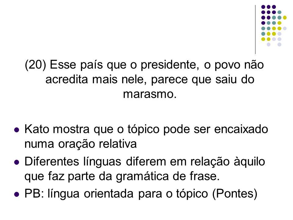 (20) Esse país que o presidente, o povo não acredita mais nele, parece que saiu do marasmo.