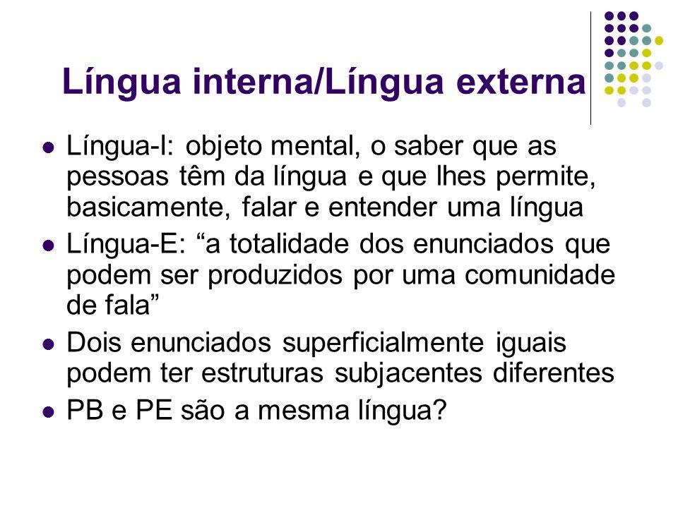 Língua interna/Língua externa