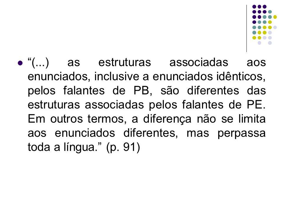 (...) as estruturas associadas aos enunciados, inclusive a enunciados idênticos, pelos falantes de PB, são diferentes das estruturas associadas pelos falantes de PE.