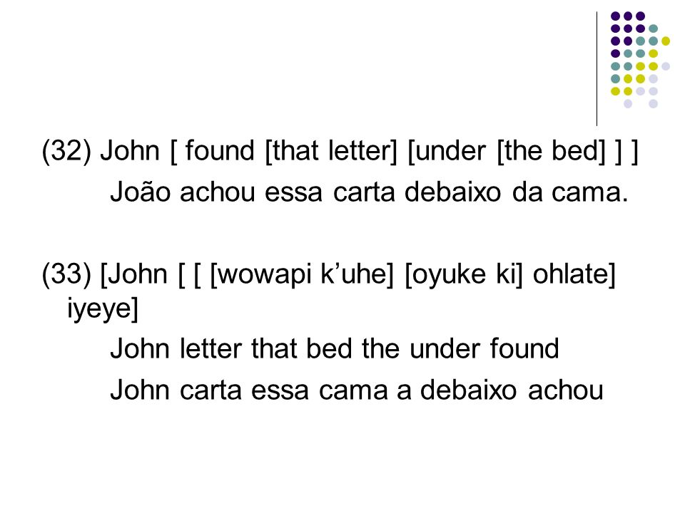 (32) John [ found [that letter] [under [the bed] ] ]