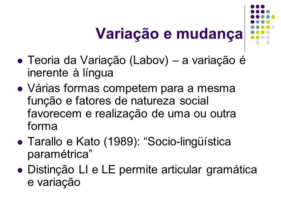 Variação e mudança Teoria da Variação (Labov) – a variação é inerente à língua.
