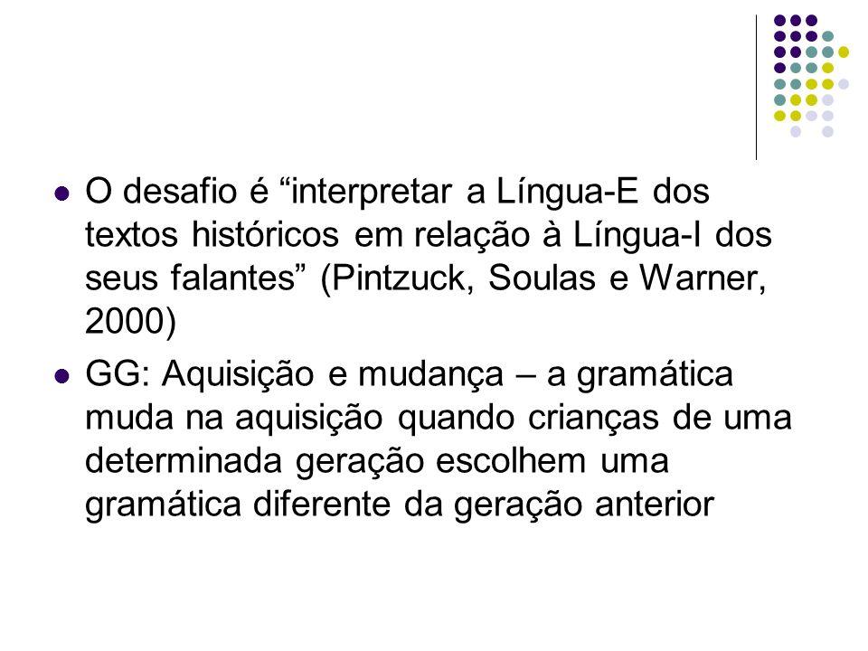 O desafio é interpretar a Língua-E dos textos históricos em relação à Língua-I dos seus falantes (Pintzuck, Soulas e Warner, 2000)