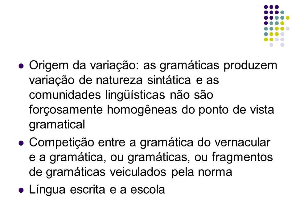 Origem da variação: as gramáticas produzem variação de natureza sintática e as comunidades lingüísticas não são forçosamente homogêneas do ponto de vista gramatical