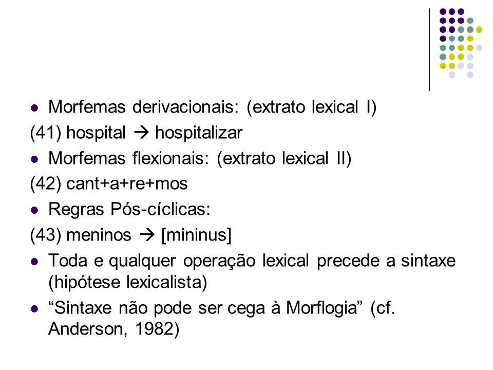 Morfemas derivacionais: (extrato lexical I)