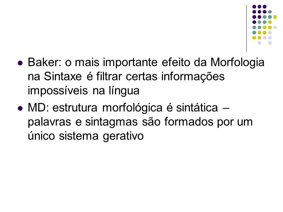 Baker: o mais importante efeito da Morfologia na Sintaxe é filtrar certas informações impossíveis na língua
