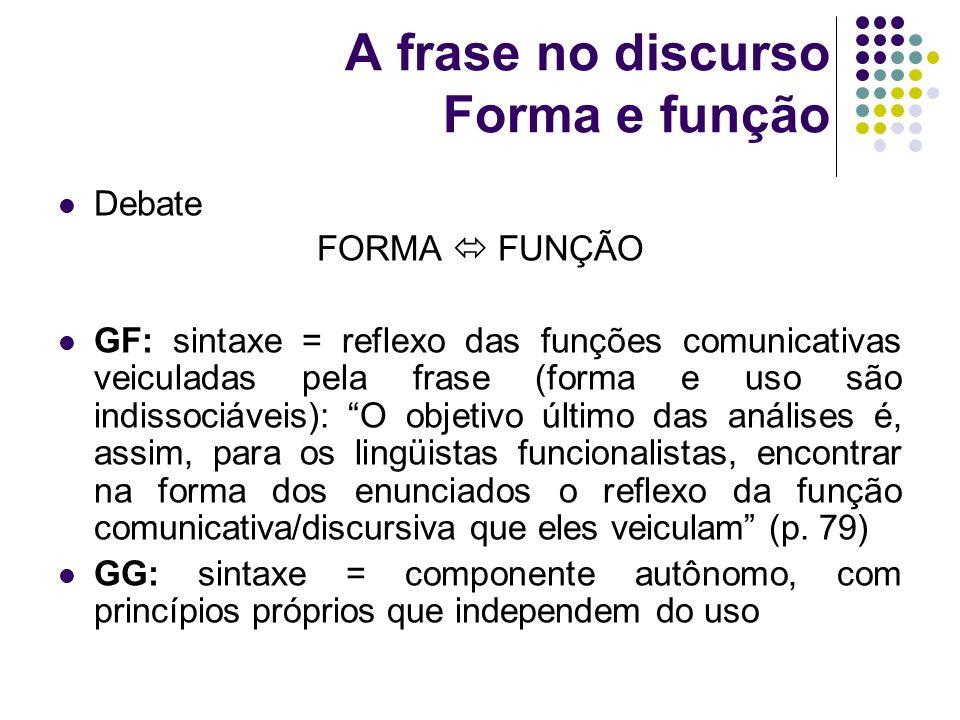 A frase no discurso Forma e função