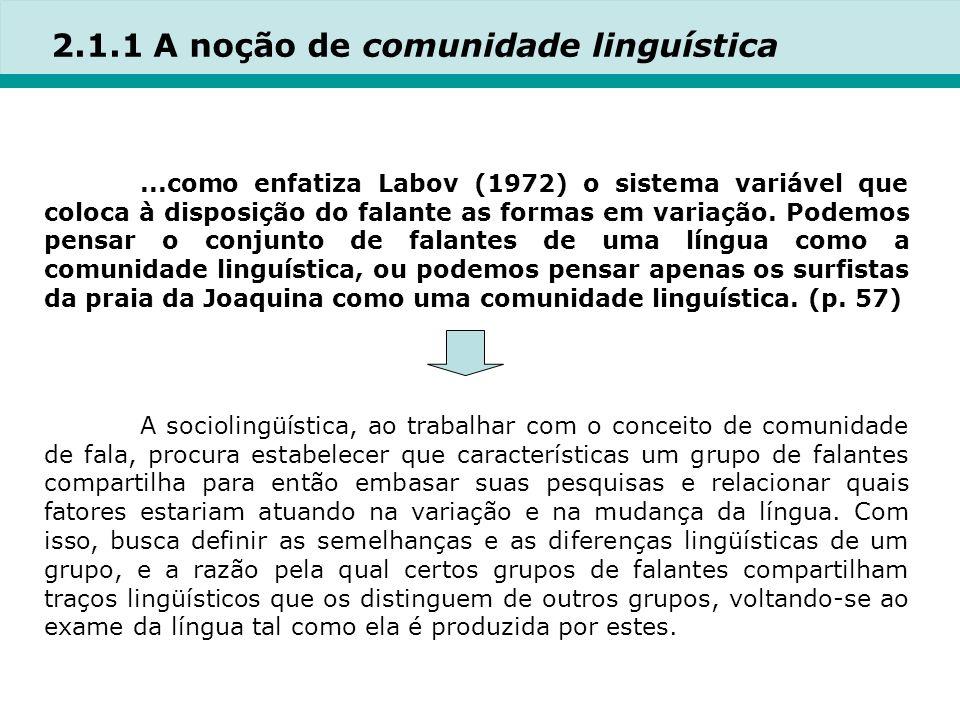 2.1.1 A noção de comunidade linguística