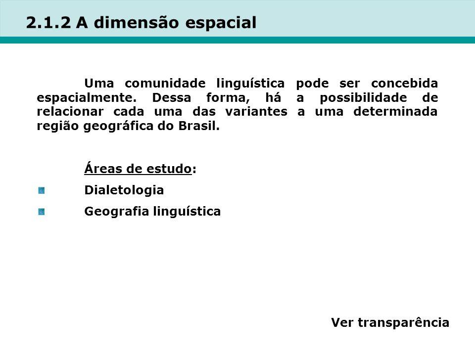 2.1.2 A dimensão espacial