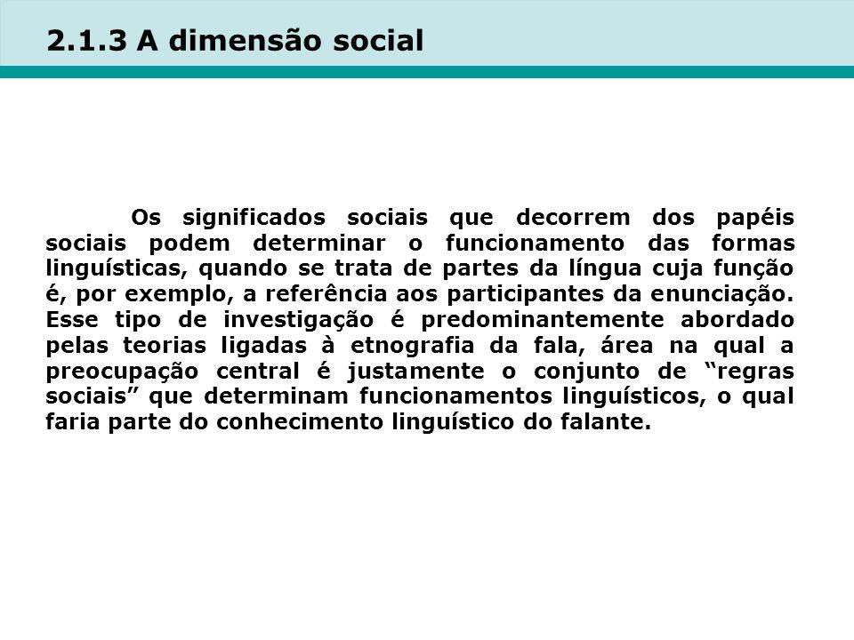 2.1.3 A dimensão social