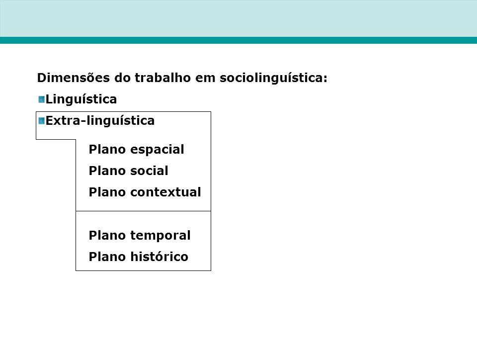 Dimensões do trabalho em sociolinguística: