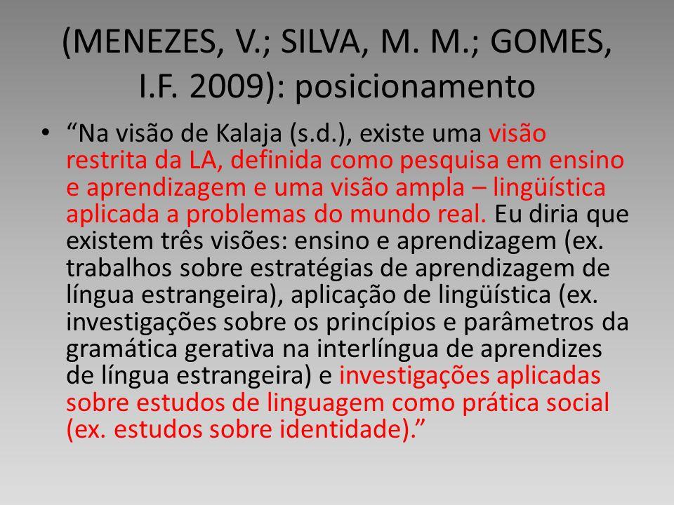 (MENEZES, V.; SILVA, M. M.; GOMES, I.F. 2009): posicionamento