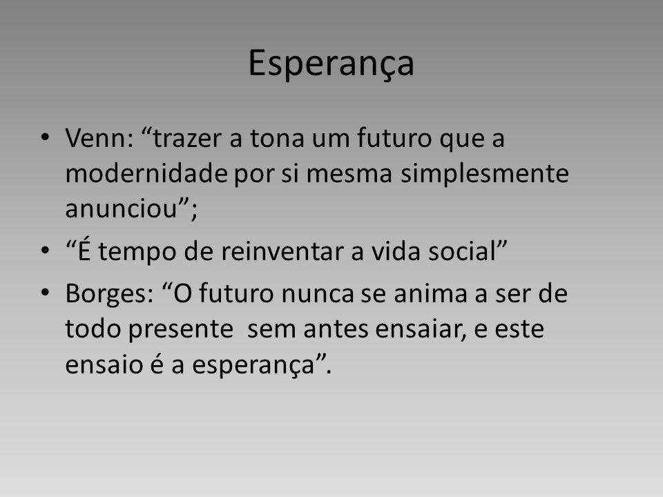 EsperançaVenn: trazer a tona um futuro que a modernidade por si mesma simplesmente anunciou ; É tempo de reinventar a vida social