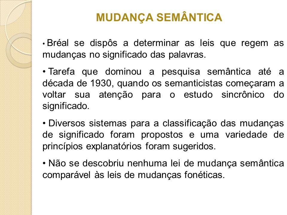 MUDANÇA SEMÂNTICA Bréal se dispôs a determinar as leis que regem as mudanças no significado das palavras.