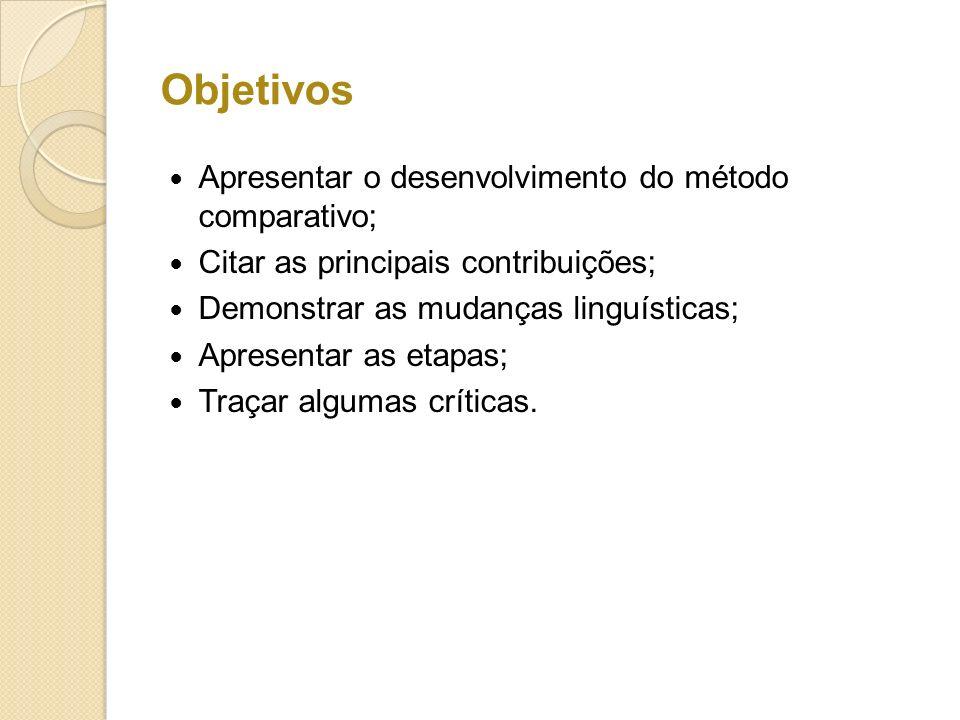Objetivos Apresentar o desenvolvimento do método comparativo;