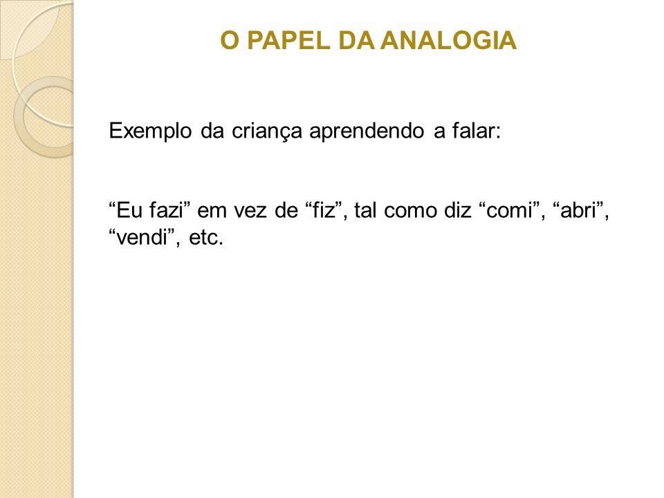 O PAPEL DA ANALOGIA Exemplo da criança aprendendo a falar: