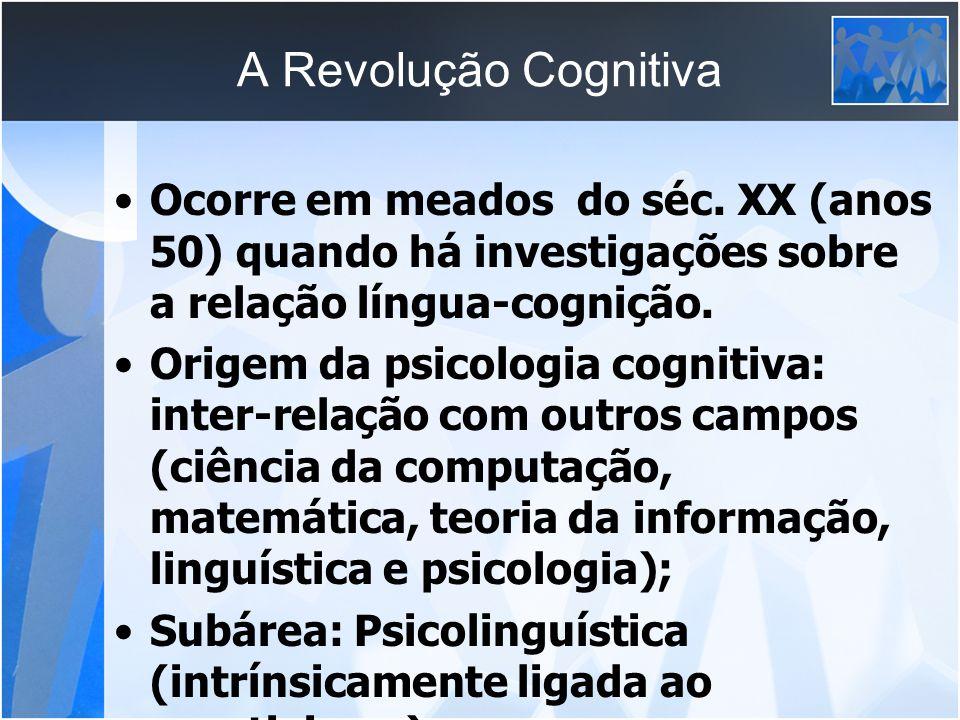 A Revolução Cognitiva Ocorre em meados do séc. XX (anos 50) quando há investigações sobre a relação língua-cognição.