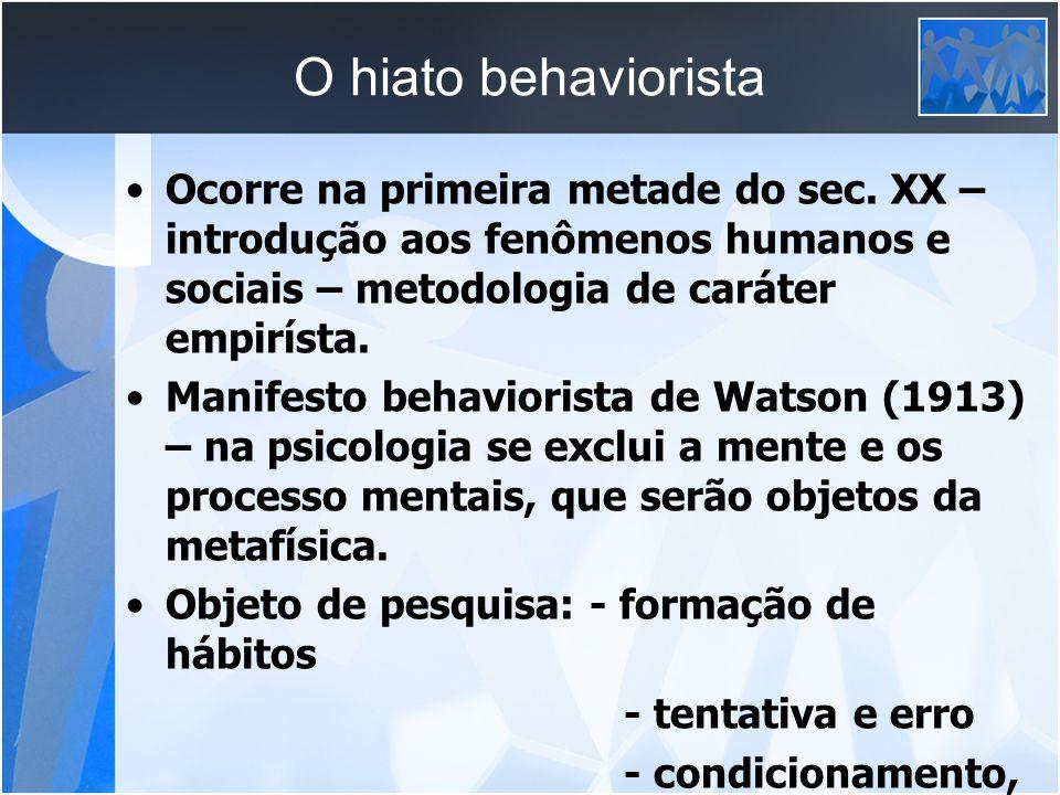 O hiato behaviorista Ocorre na primeira metade do sec. XX – introdução aos fenômenos humanos e sociais – metodologia de caráter empirísta.