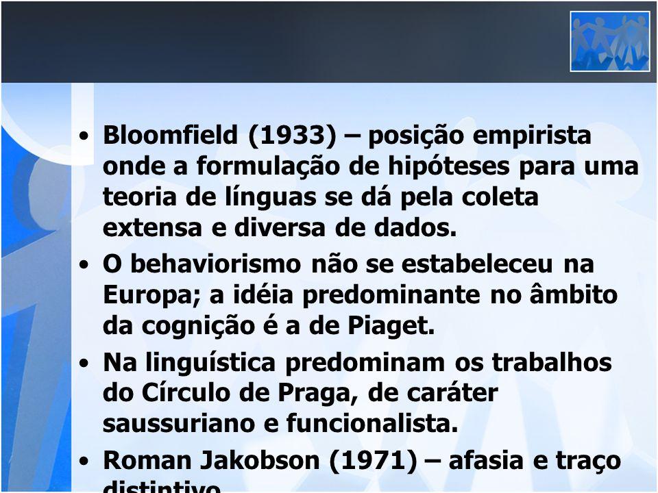Bloomfield (1933) – posição empirista onde a formulação de hipóteses para uma teoria de línguas se dá pela coleta extensa e diversa de dados.