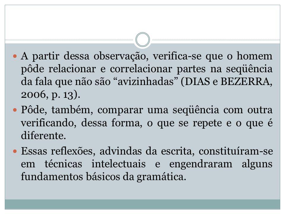 A partir dessa observação, verifica-se que o homem pôde relacionar e correlacionar partes na seqüência da fala que não são avizinhadas (DIAS e BEZERRA, 2006, p. 13).