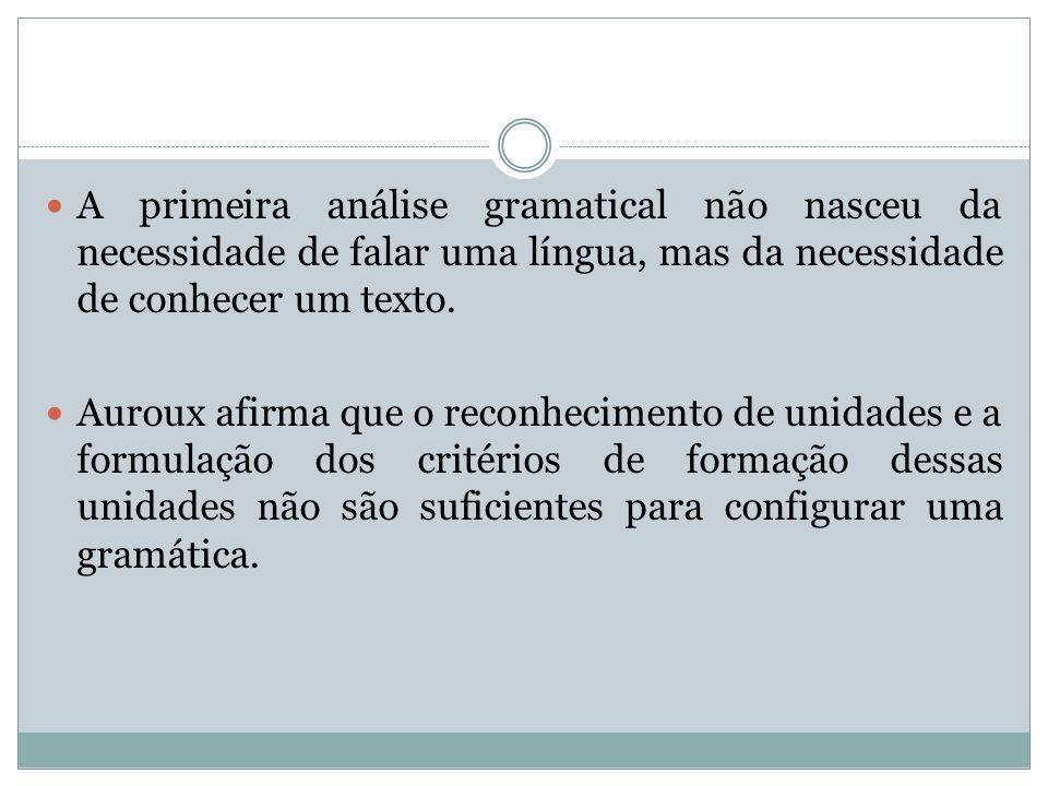 A primeira análise gramatical não nasceu da necessidade de falar uma língua, mas da necessidade de conhecer um texto.