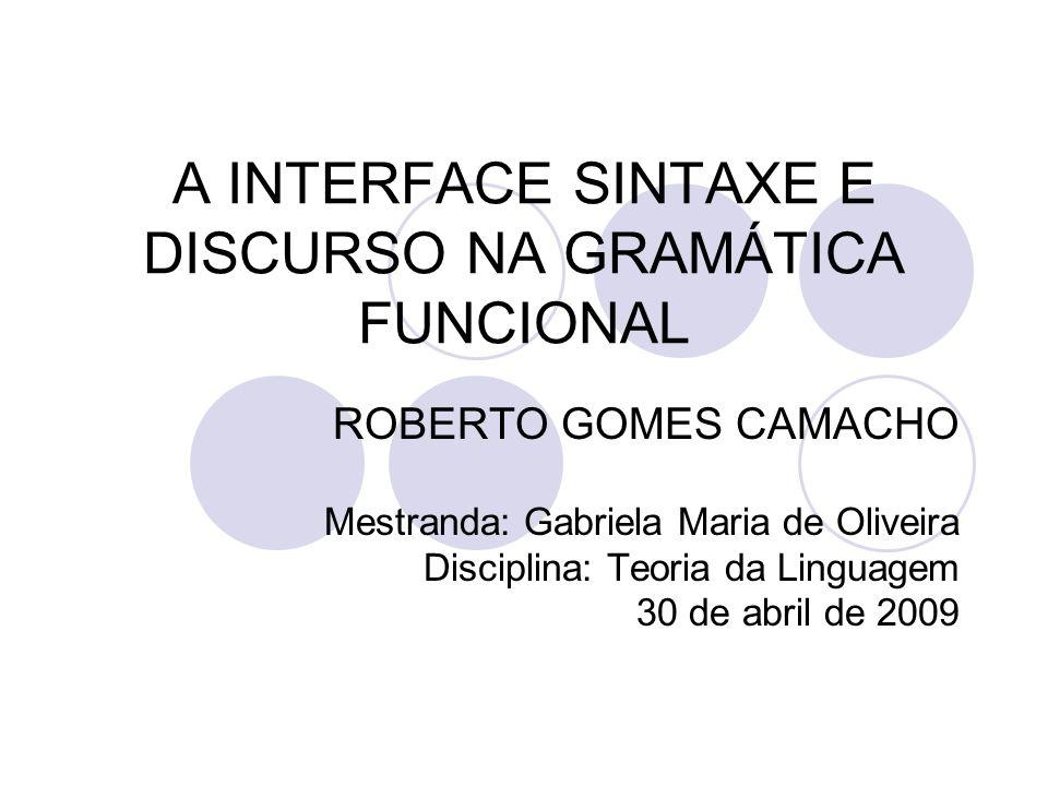 A INTERFACE SINTAXE E DISCURSO NA GRAMÁTICA FUNCIONAL