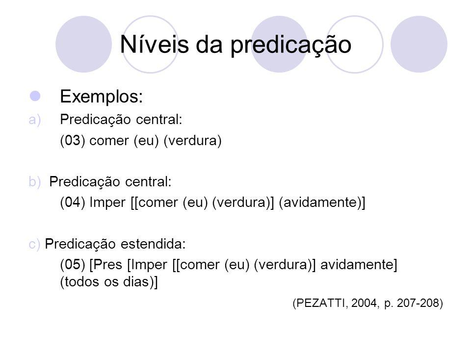 Níveis da predicação Exemplos: Predicação central: