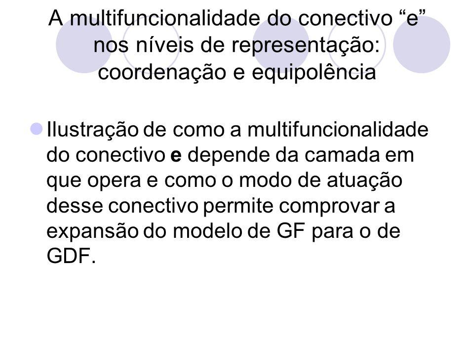 A multifuncionalidade do conectivo e nos níveis de representação: coordenação e equipolência