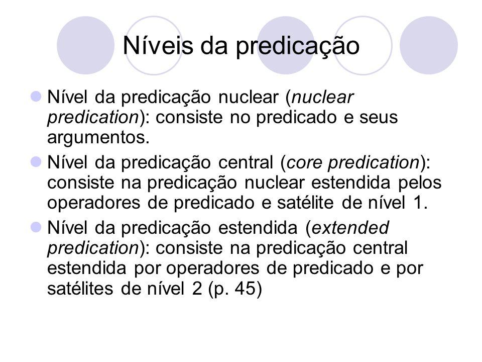 Níveis da predicação Nível da predicação nuclear (nuclear predication): consiste no predicado e seus argumentos.