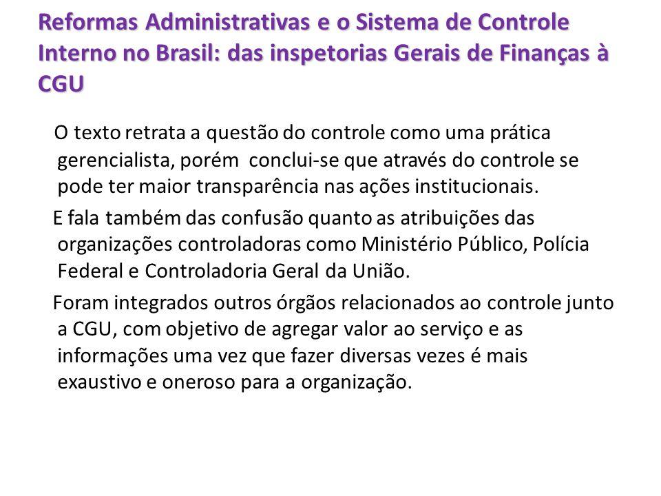 Reformas Administrativas e o Sistema de Controle Interno no Brasil: das inspetorias Gerais de Finanças à CGU