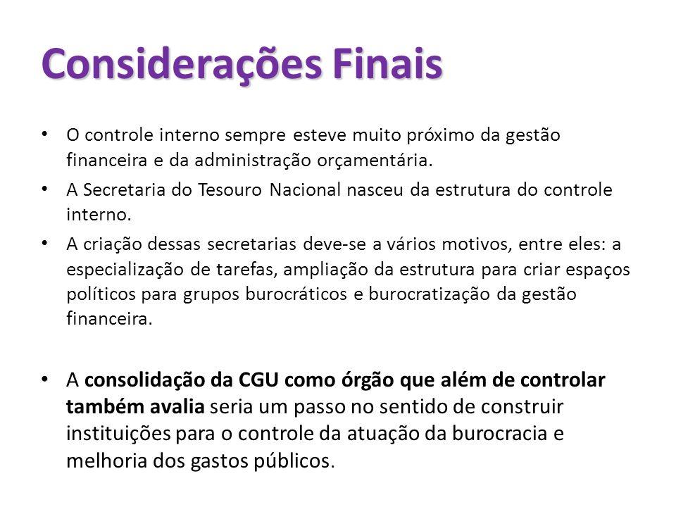 Considerações Finais O controle interno sempre esteve muito próximo da gestão financeira e da administração orçamentária.