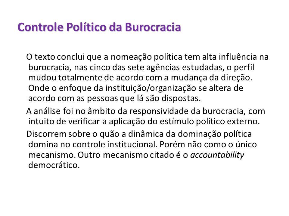 Controle Político da Burocracia
