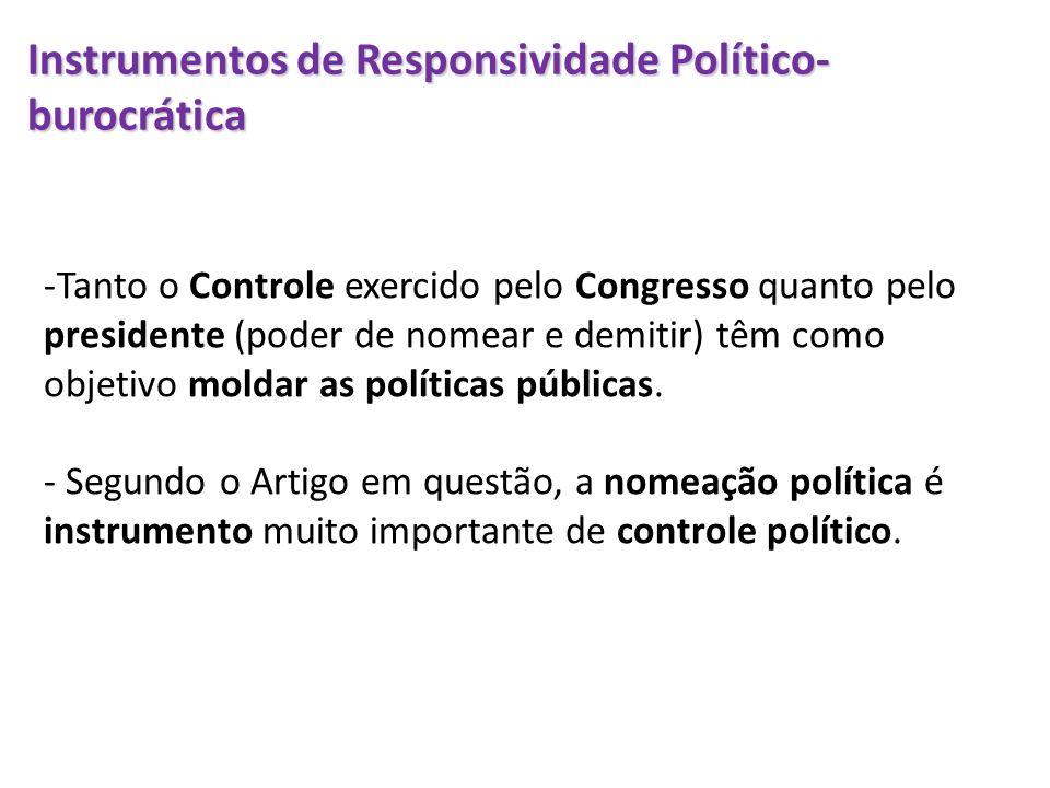 Instrumentos de Responsividade Político-burocrática