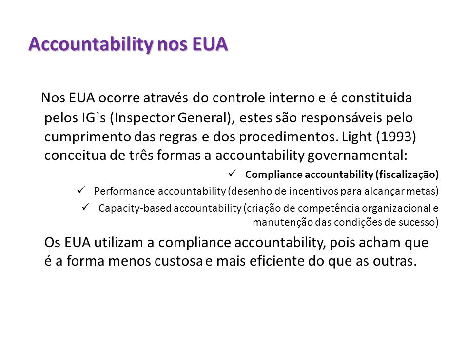 Accountability nos EUA