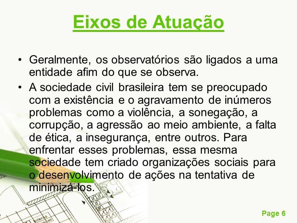 Eixos de Atuação Geralmente, os observatórios são ligados a uma entidade afim do que se observa.