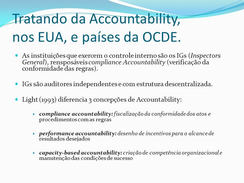 Tratando da Accountability, nos EUA, e países da OCDE.