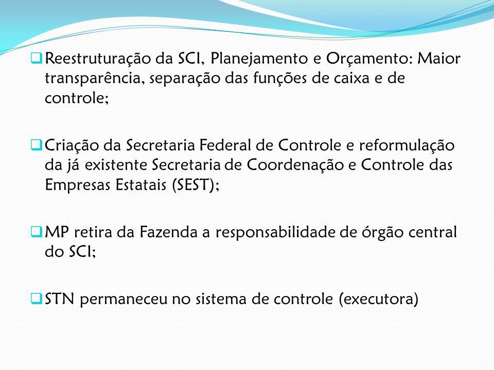 Reestruturação da SCI, Planejamento e Orçamento: Maior transparência, separação das funções de caixa e de controle;