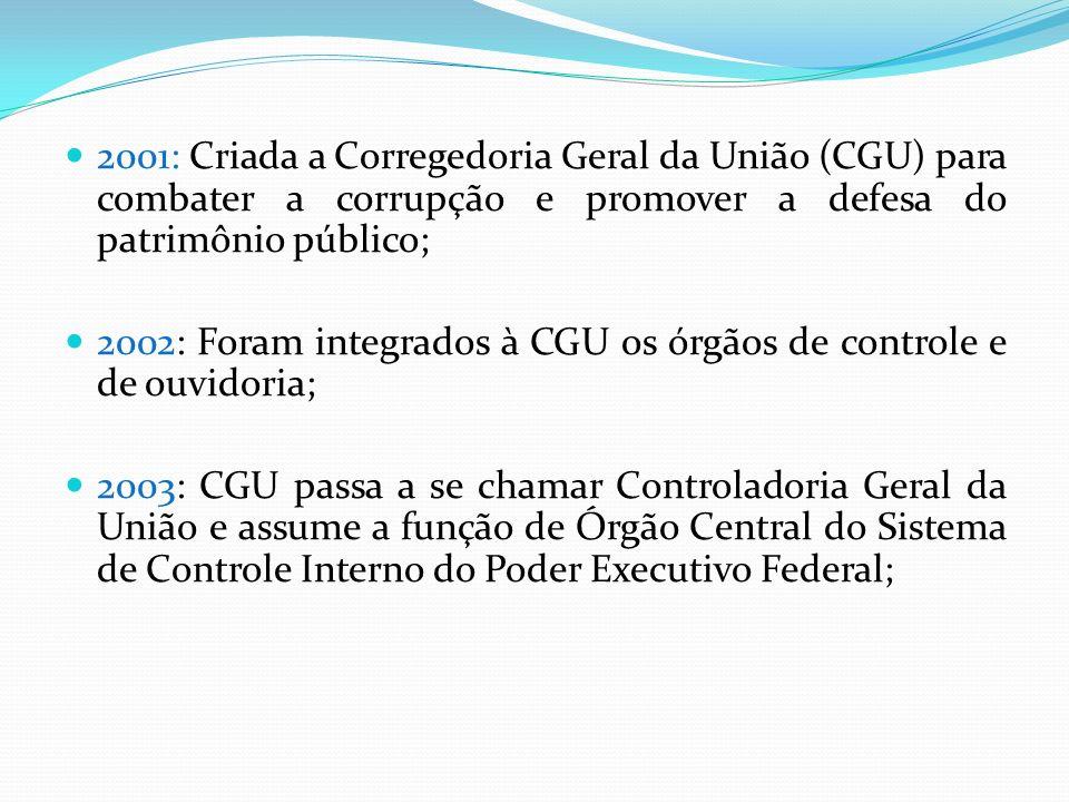2001: Criada a Corregedoria Geral da União (CGU) para combater a corrupção e promover a defesa do patrimônio público;