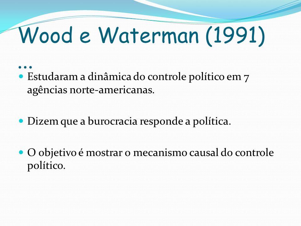 Wood e Waterman (1991) ... Estudaram a dinâmica do controle político em 7 agências norte-americanas.