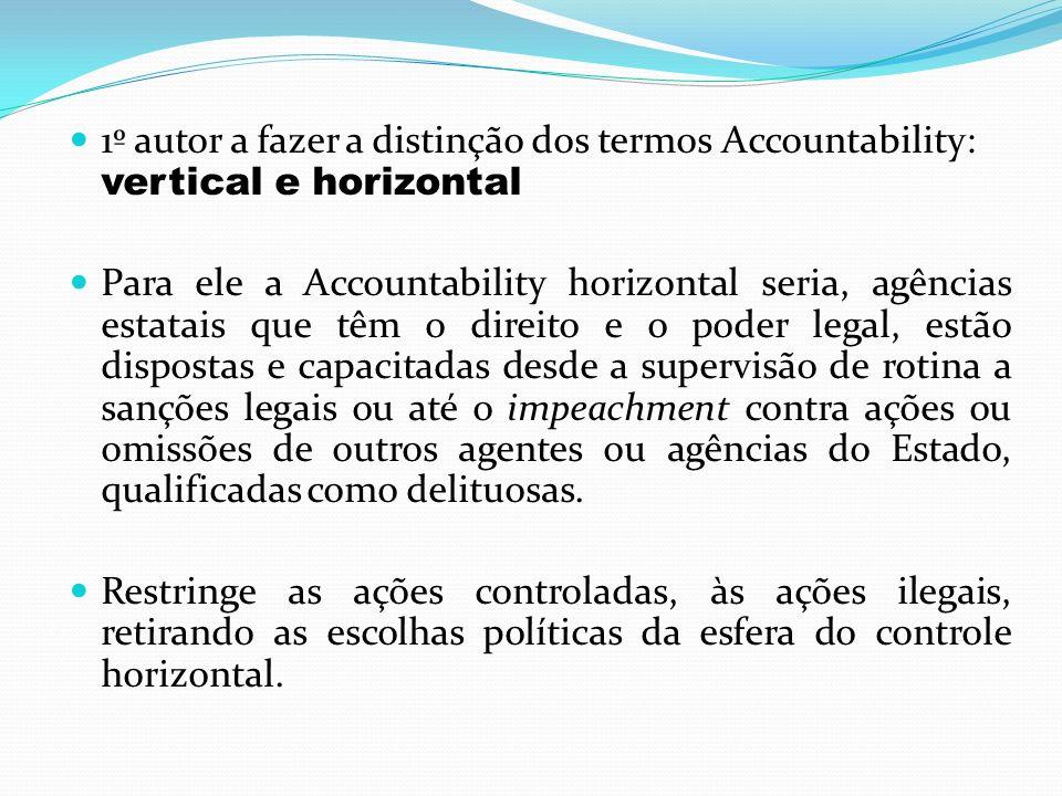 1º autor a fazer a distinção dos termos Accountability: vertical e horizontal