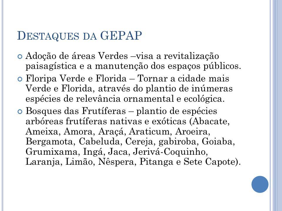 Destaques da GEPAP Adoção de áreas Verdes –visa a revitalização paisagística e a manutenção dos espaços públicos.