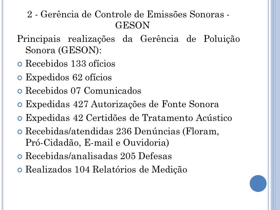 2 - Gerência de Controle de Emissões Sonoras - GESON
