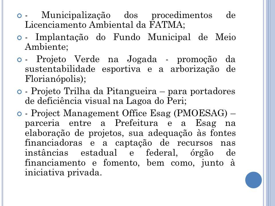 - Municipalização dos procedimentos de Licenciamento Ambiental da FATMA;