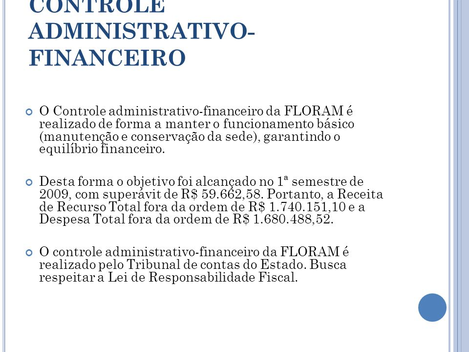 CONTROLE ADMINISTRATIVO-FINANCEIRO