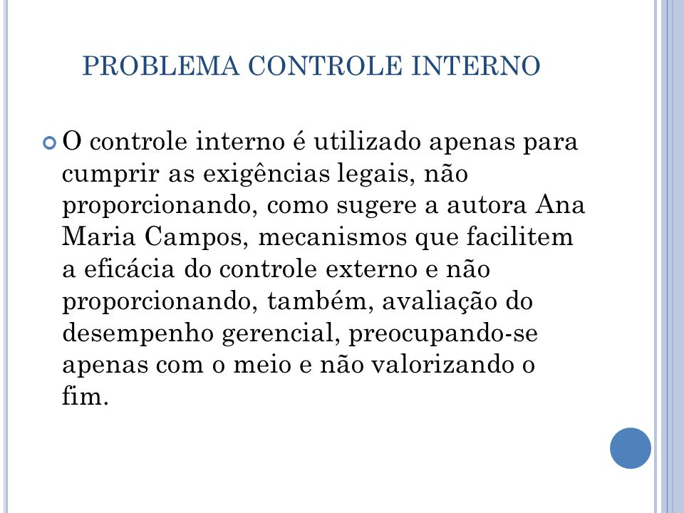 PROBLEMA CONTROLE INTERNO