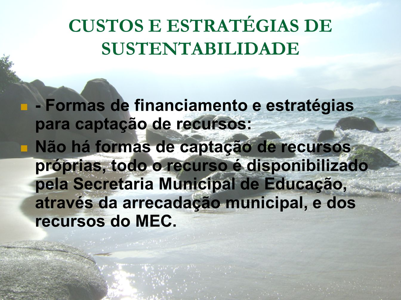 CUSTOS E ESTRATÉGIAS DE SUSTENTABILIDADE