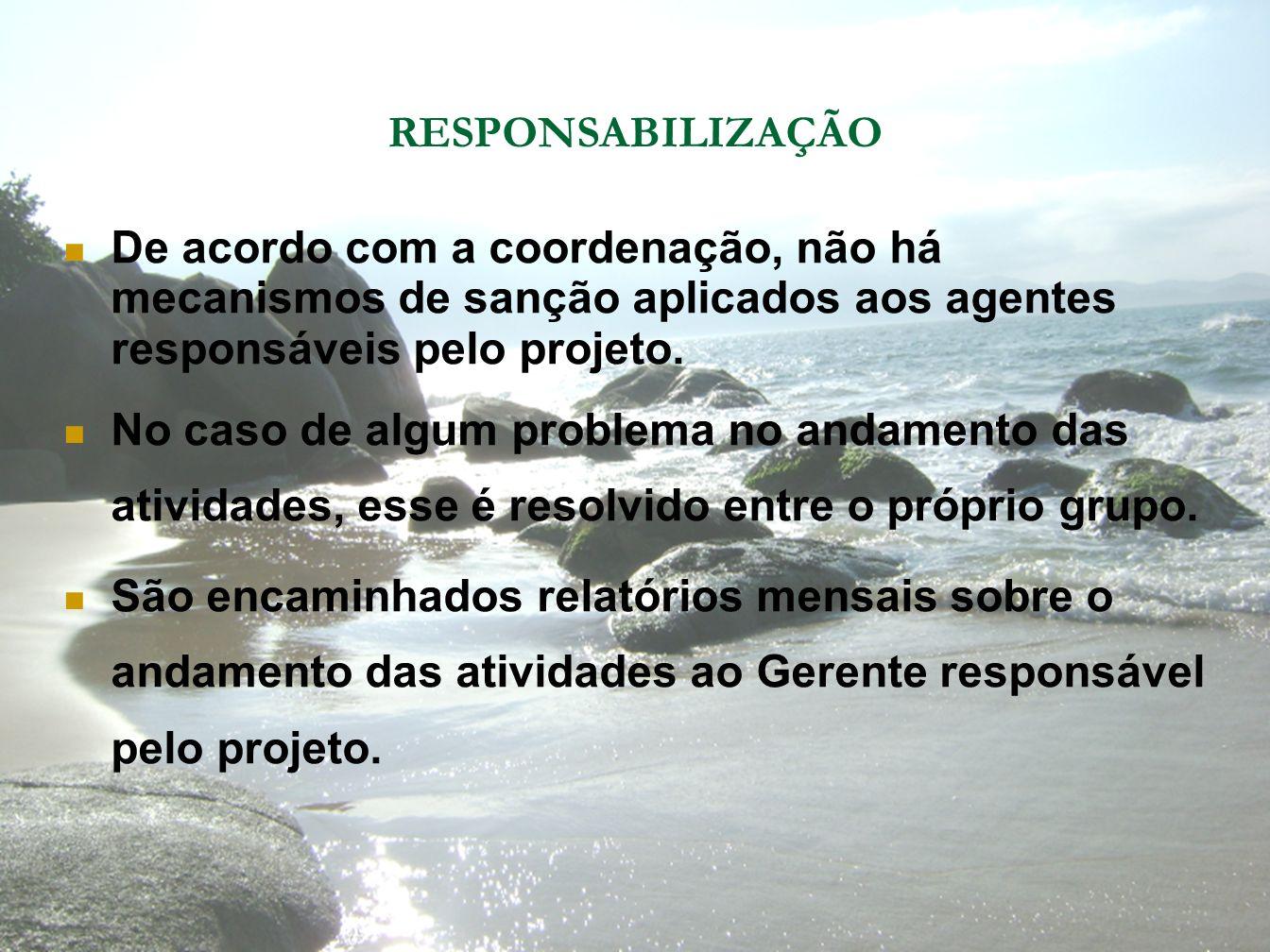 RESPONSABILIZAÇÃO De acordo com a coordenação, não há mecanismos de sanção aplicados aos agentes responsáveis pelo projeto.