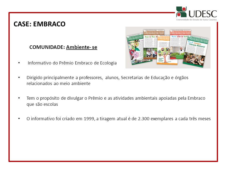 CASE: EMBRACO COMUNIDADE: Ambiente- se