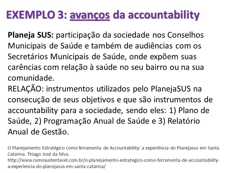 EXEMPLO 3: avanços da accountability